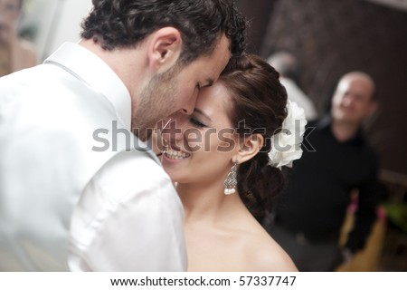 Bride and groom dancing on their wedding - stock photo