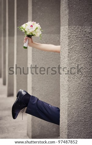 Bride and groom detail - stock photo