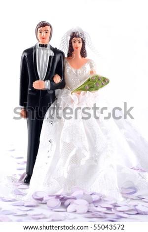 Bride and groom dolls - stock photo