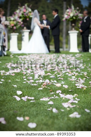 Bride and groom getting married focus on rose petals - stock photo