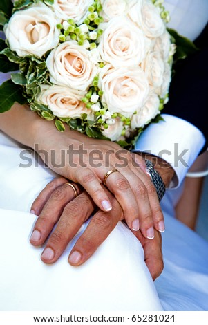 Bride and Groom Hand with Wedding Ring - stock photo