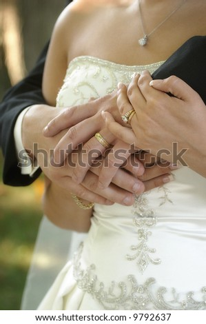 Bride and groom hands over wedding dress - stock photo