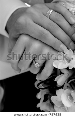 Bride and Groom holding hands (Black and White) - stock photo
