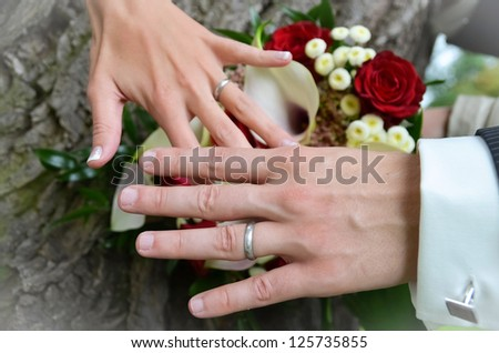 Bride and groom holding hands on tree with wedding rings