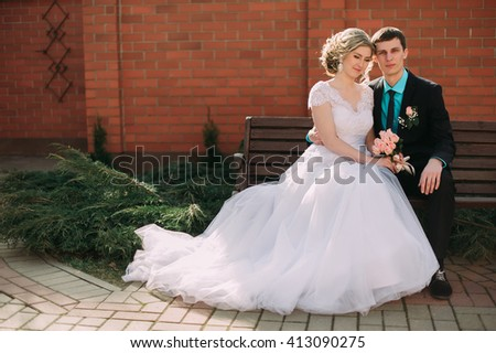 Bride and groom in a park kissing.couple newlyweds bride and groom at a wedding in nature green forest are kissing photo portrait.Wedding Couple sitting on a bunch