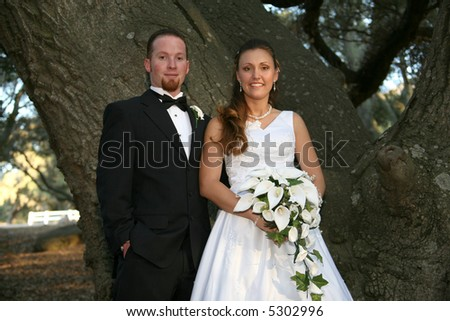 bride and groom in front of tree