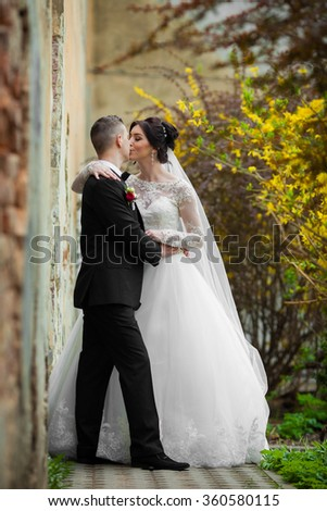 Bride and groom kissing and hugging near old building wall closeup - stock photo