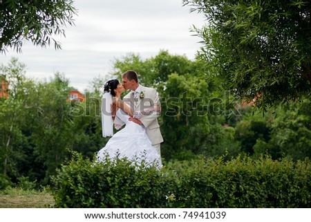 Bride and groom kissing in the park - stock photo