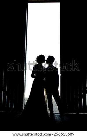 Bride and groom kissing silhouette on their wedding - stock photo