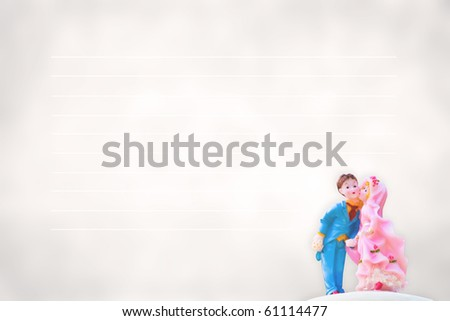 Bride and Groom model on vintage paper - stock photo