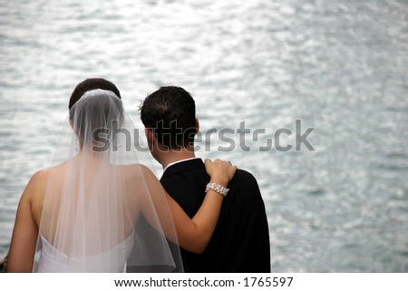 Bride and Groom - Newlyweds Great expectations - stock photo