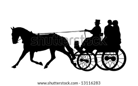 bride and groom on horse and carriage - stock photo