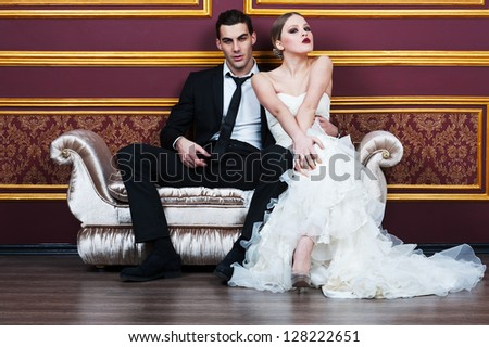 bride and groom on their wedding celebration - stock photo