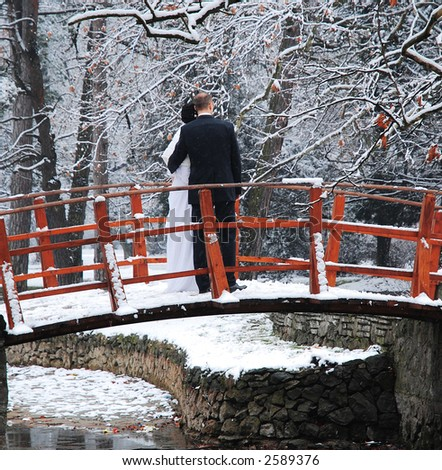 Bride and groom on wooden bridge in park - stock photo