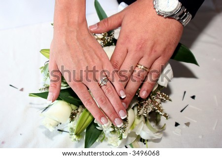 Bride and groom's hands showing wedding rings - stock photo
