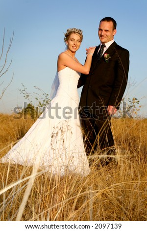 Bride and groom standing in a field of long grass - stock photo