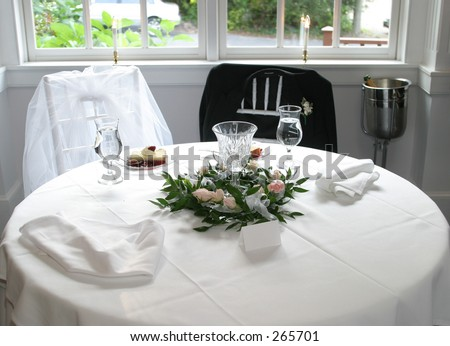 Lovely Bride And Groom Table Setting. Idea