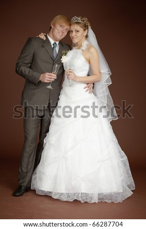 Bride and groom together - stock photo