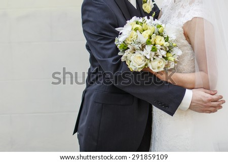 Bride and groom together. Wedding picture.  - stock photo