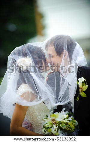 Bride and groom under the veil. - stock photo