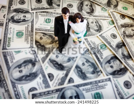 bride and groom wedding couple on money                                - stock photo