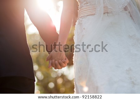 Bride and Groom wedding day - stock photo