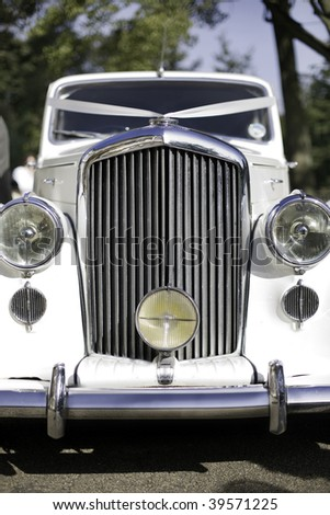 bride and groom wedding transportation - stock photo