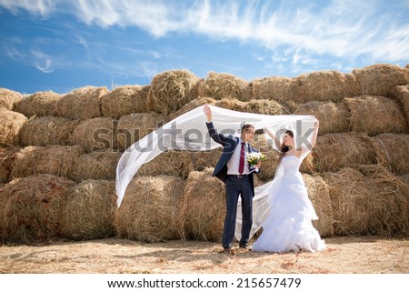 bride and groom with veil near hay - stock photo
