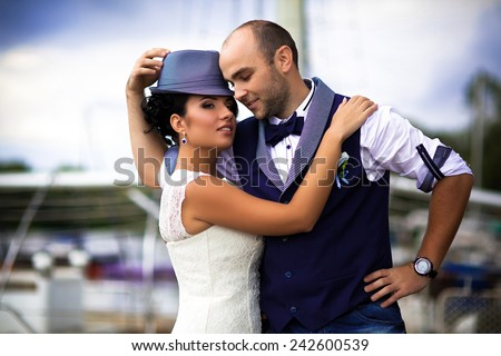 bride and groom Yacht - stock photo