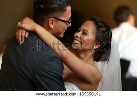 Bride and grooms first dance  - stock photo
