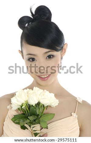 Bride and her bouquet - stock photo