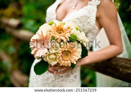 Bride and wedding bouquet