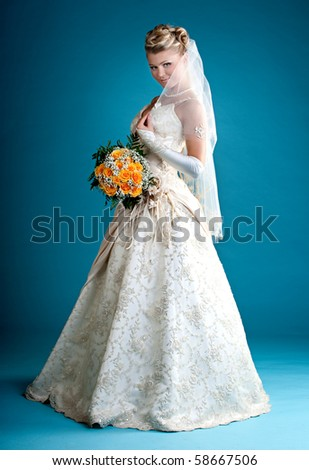Bride. Beautiful woman in a wedding dress. - stock photo
