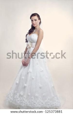 Bride beautiful woman in wedding dress - wedding style - stock photo