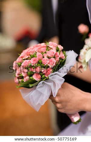 Bride bouquet from pink, fragile  roses - stock photo