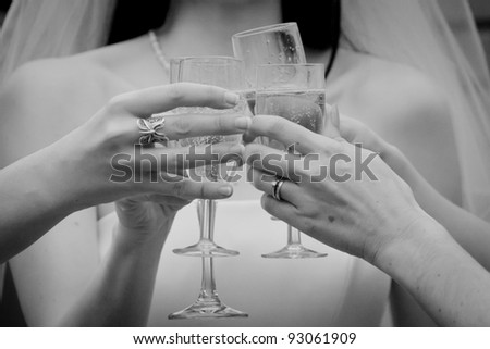 Bride & Bridesmaid Toasting with Champagne - stock photo