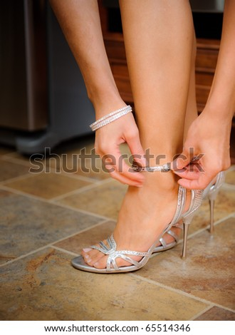 Bride buckling shoes - stock photo