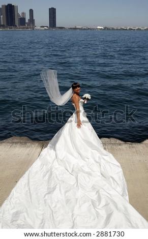 Bride, Chicago in background - stock photo