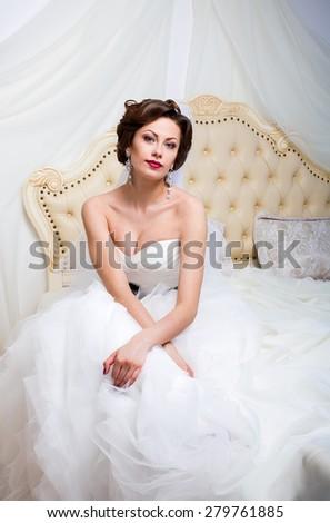 bride fiancee girl wedding studio interior  - stock photo