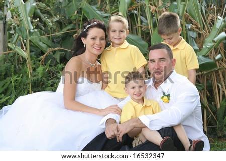 bride groom and children - stock photo