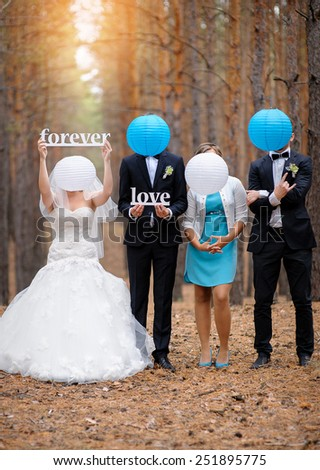 Bride groom and their friends at the wedding, forever love. - stock photo