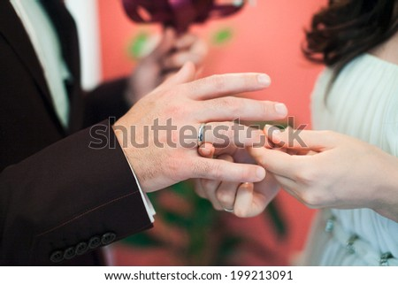 bride groom hands - stock photo