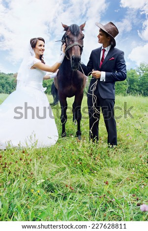 bride, groom walking a horse in a field - stock photo