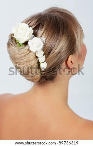 Bride hairstyle photo in studio - stock photo