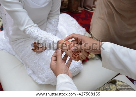 Bride hand. muslim wedding ceremony