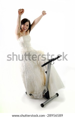 Bride happy to finish training to get in shape for wedding day - stock photo