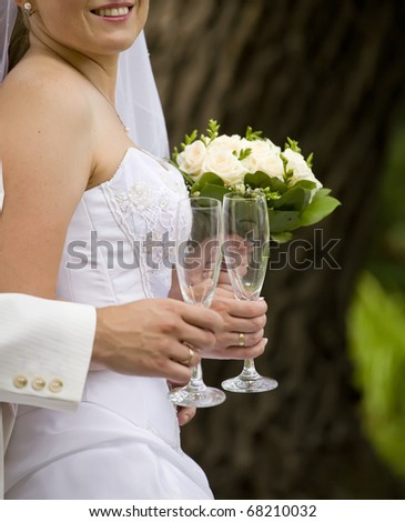 Bride, holding empty glass