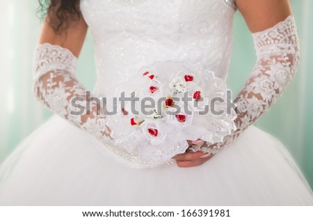 bride in a dress with a bouquet