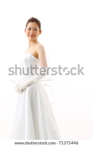 bride in beauty white dress - stock photo