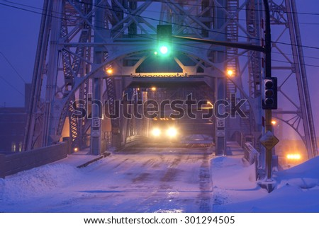 Bride in Duluth during heavy snow storm. Duluth, Minnesota, USA - stock photo